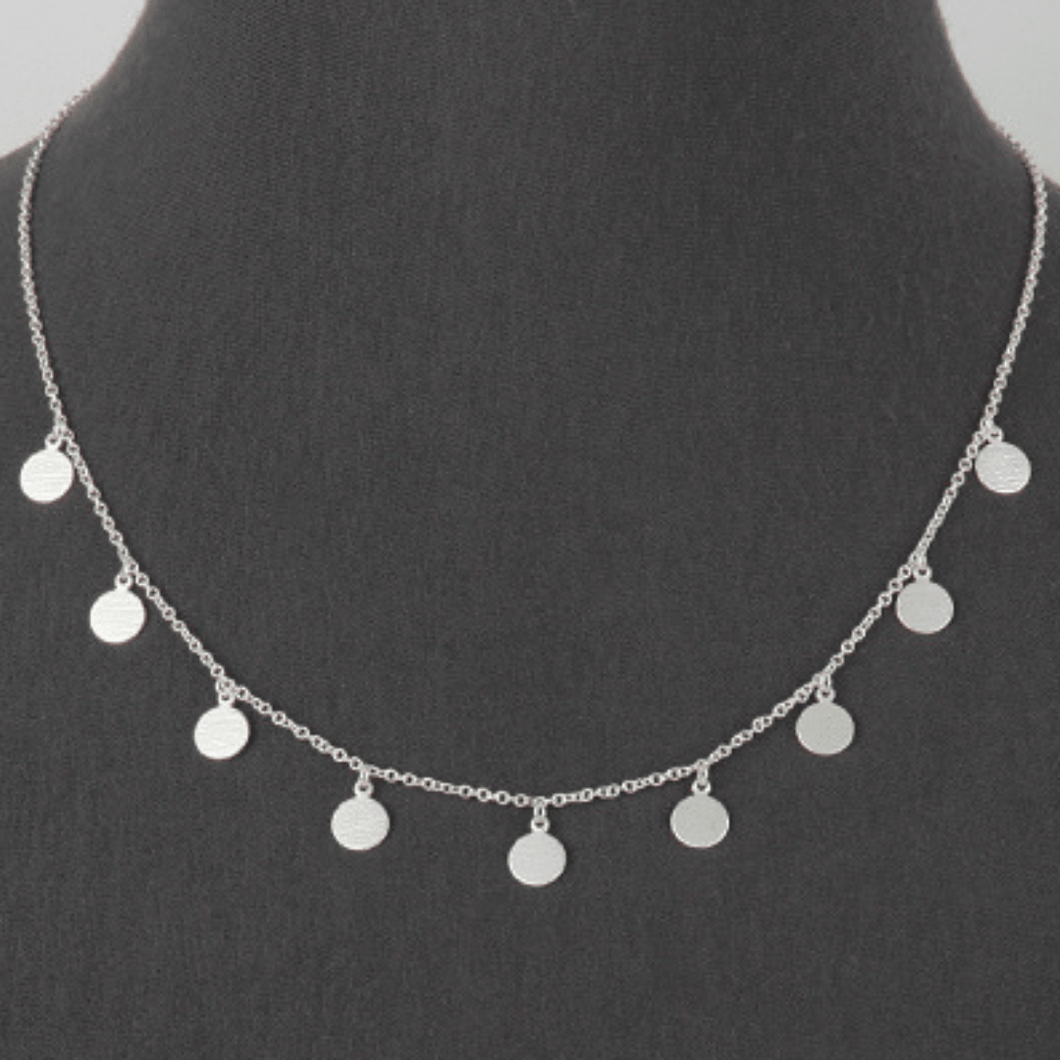Matte Silver Multi Disc Charm Necklace - women's fashion necklaces