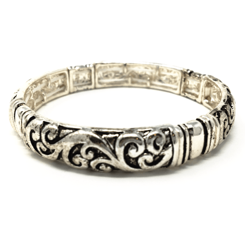 Antique Silver Filigree Metal Stretch Bracelet