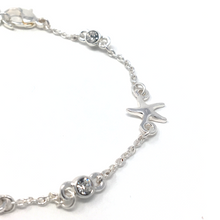 Silver Starfish Adjustable Bracelet with Rhinestones