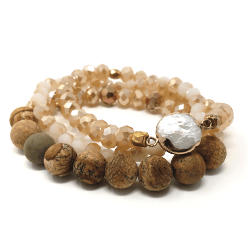 Stone Beaded Stacking Bracelet With Pearl Inlay - Bracelet For Women