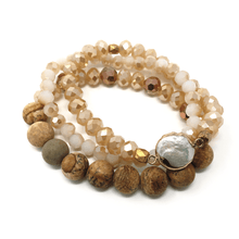 Stone Beaded Stacking Bracelet With Pearl Inlay - Fashion Bracelet