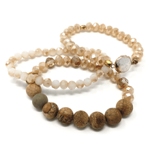 Stone Beaded Stacking Bracelet With Pearl Inlay - Fashion Jewelry