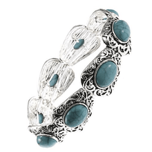 Silver Filigree Pattern Bracelet With Turquoise Gemstone - Fashion Jewelry