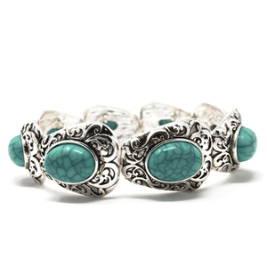 Silver Filigree Pattern Bracelet With Turquoise Gemstone - Fashion Bracelets