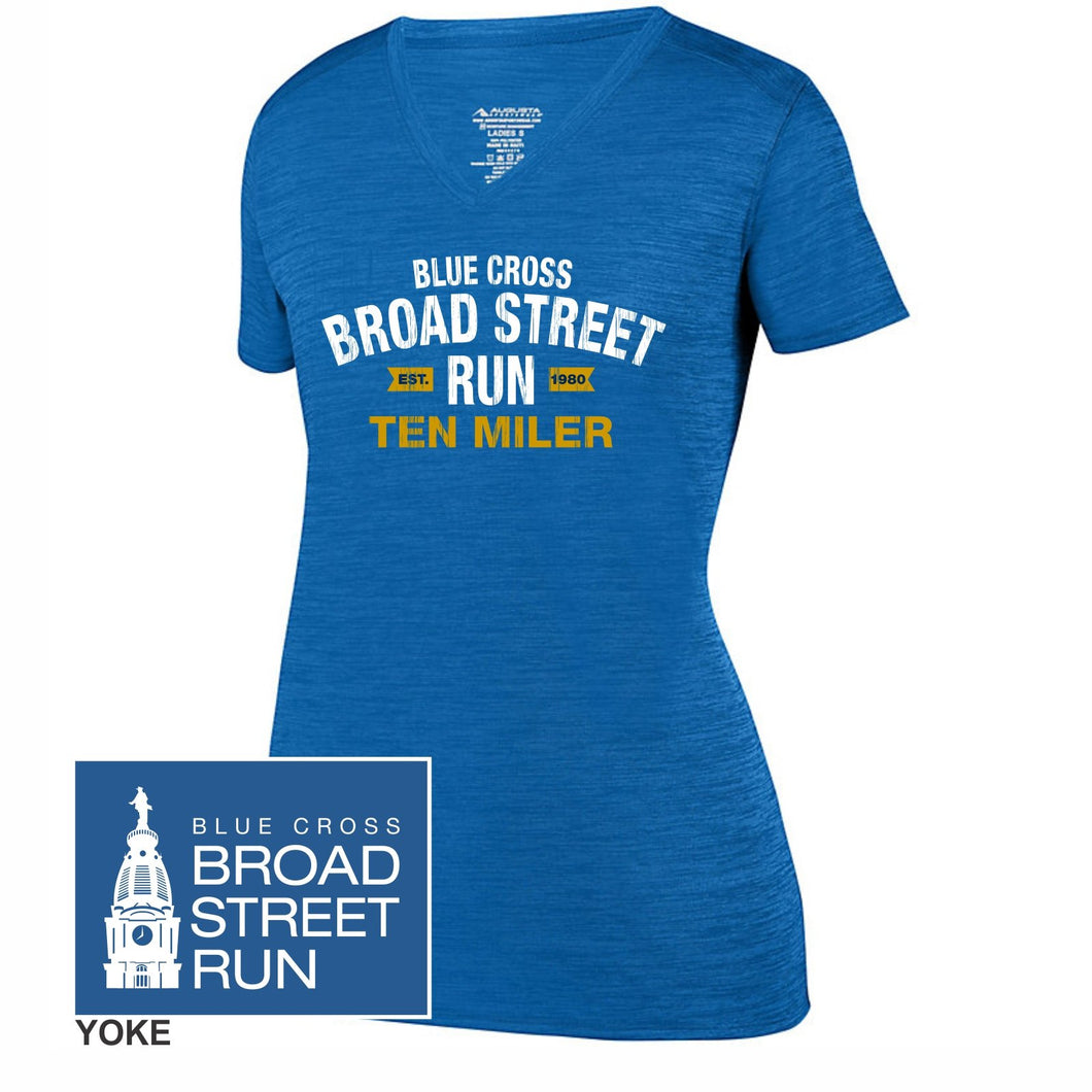 'Collegiate' Women's Tech SS V-Neck Tonal Heather Tee - Royal