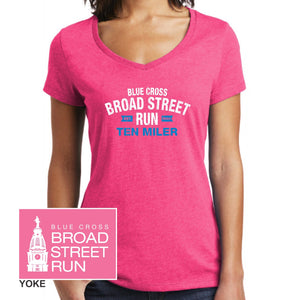 'Collegiate' Women's Ring-Spun SS V-Neck Tee - Fuchsia Frost