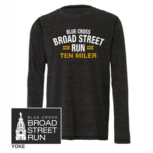 'Collegiate' Men's Tri-Blend LS Tee - Charcoal Heather