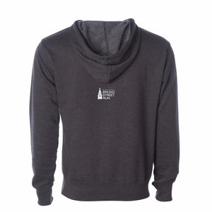 'Subway Stop' Men's Fleece Hoody - Charcoal Heather