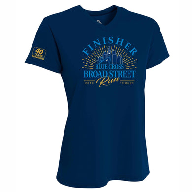 '2019 Finisher' Women's Tech SS V-Neck Tee - Navy