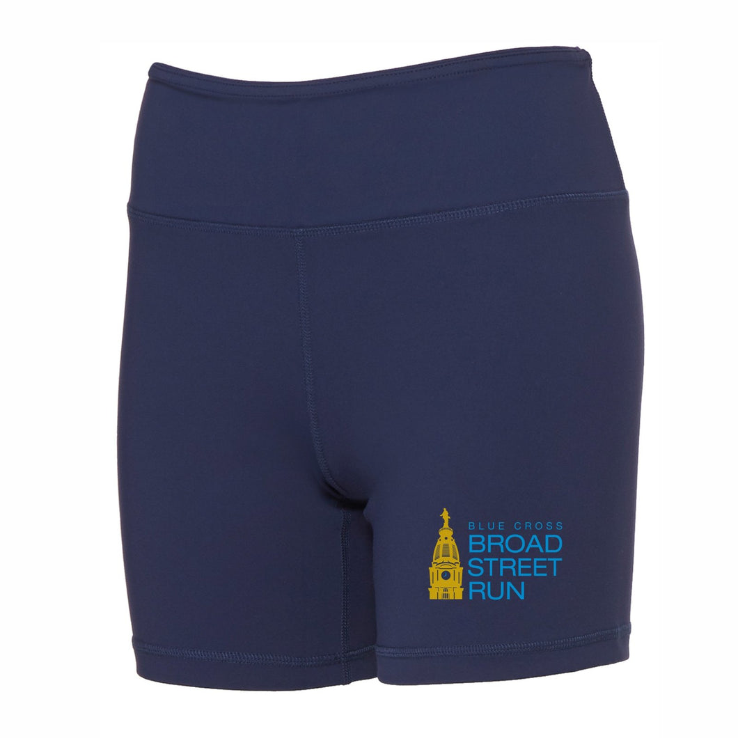 'Tower Logo' Women's Yoga Shorts - Navy