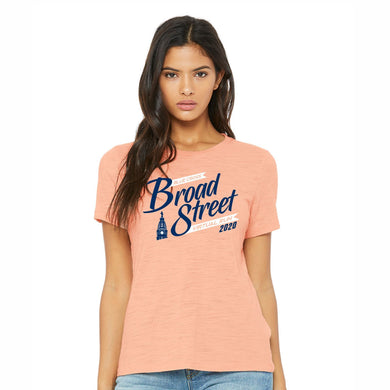 Virtual Run 'Banner' Women's Slub SS Relaxed Tee - Peach