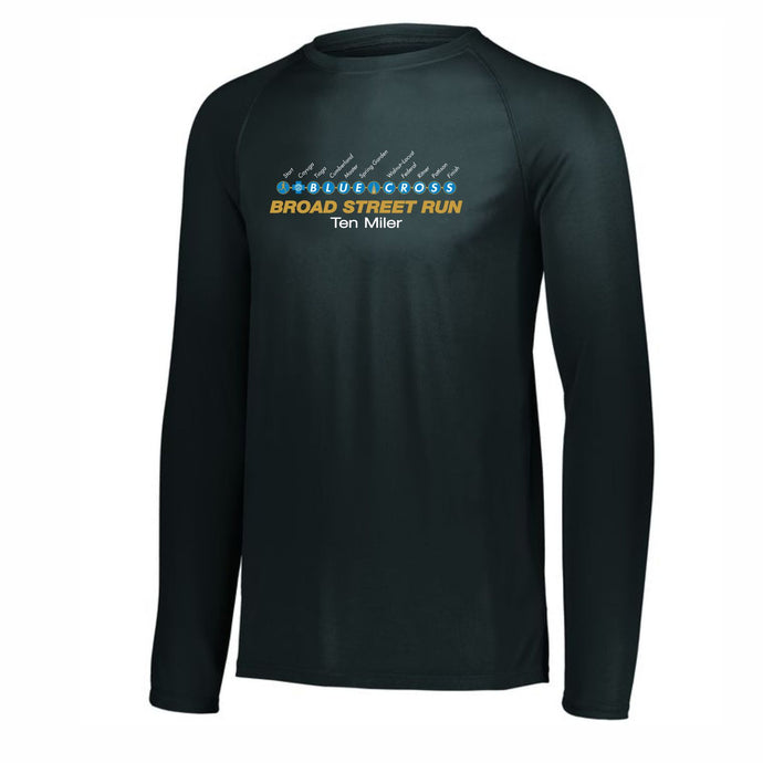 'Subway Stop' Men's Tech LS Tee - Black