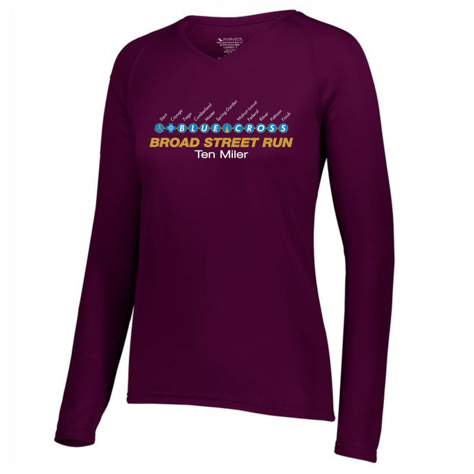 'Subway Stop' Women's Tech LS V-Neck Tee - Maroon