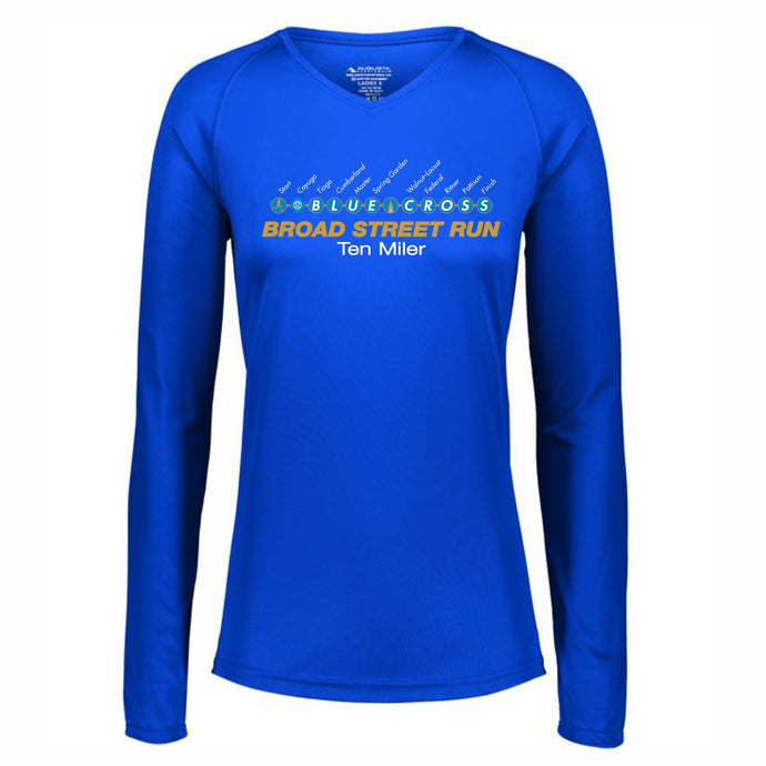 'Subway Stop' Women's Tech LS V-Neck Tee - Royal