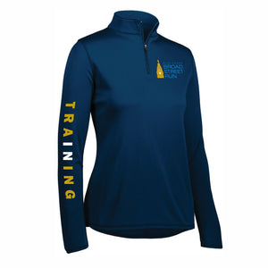 Women's Tech 1/4 Zip -Navy 'In Training 2020 Design' - Blue Cross Broad Street Run