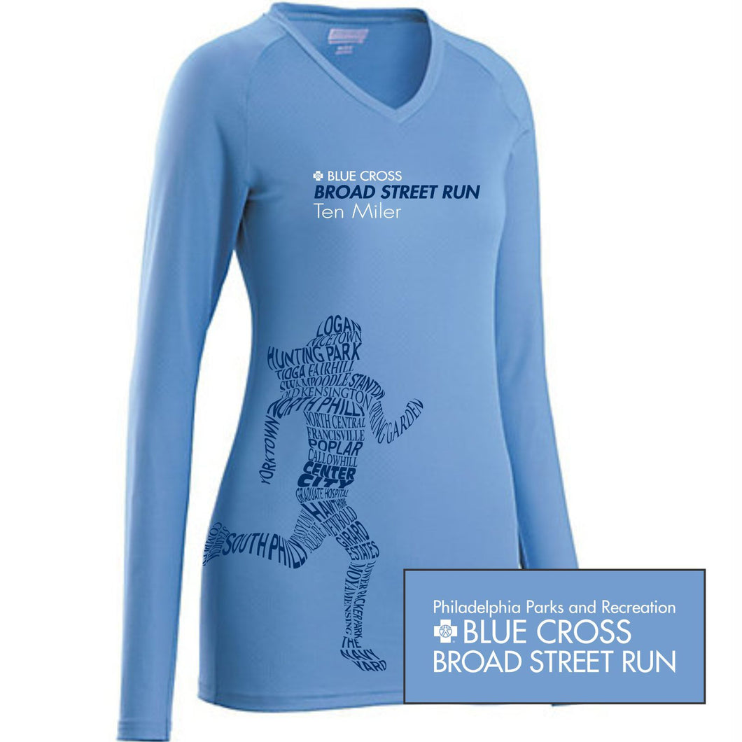 'Women's Runner' Women's LS 'Attain' Tech V-Neck Tee - Columbia Blue - by Augusta