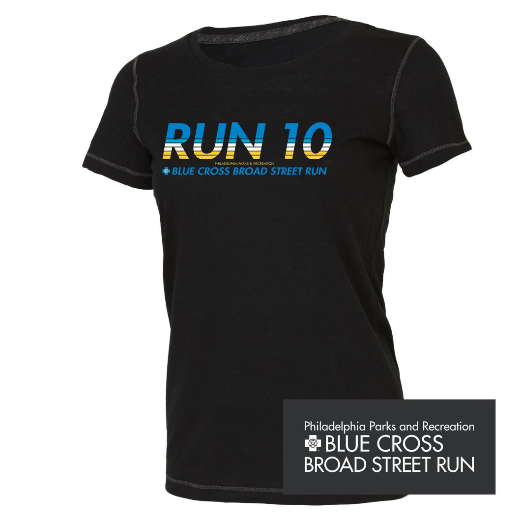 'Run10' Women's SS Tri-Blend Tech Tee - Black - by All Sport