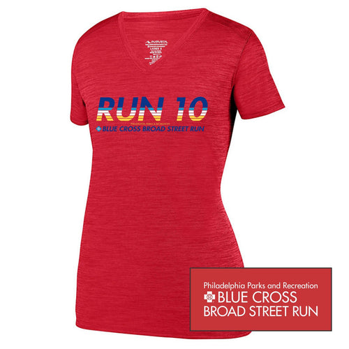 'Run10' Women's SS 'Shadow' Tonal Heather Tech V-Neck Tee - Red - by Augusta