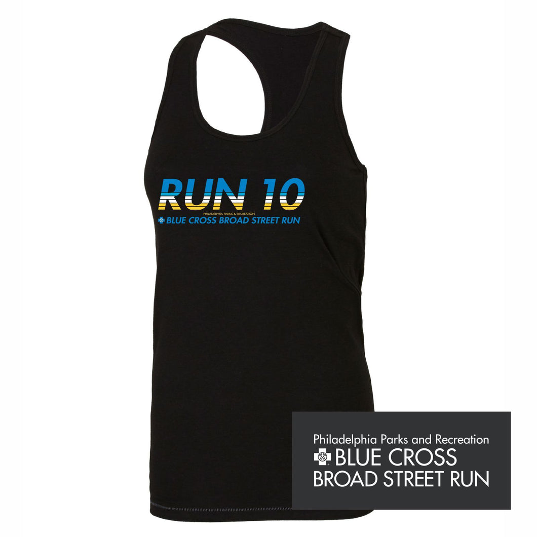 'Run10' Women's Racerback Tri-Blend Bamboo Singlet - Black - by All Sport