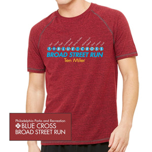 'Subway Stop' Men's SS Tri-Blend Tech Tee - Heather Red Triblend - by All Sport