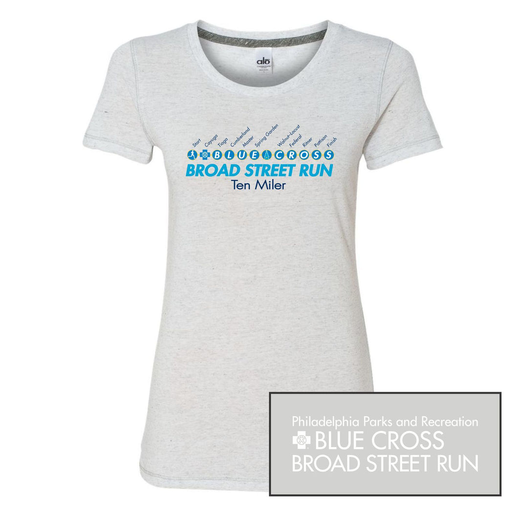 'Subway Stop' Women's SS Tri-Blend Tech Tee - White Heather - by All Sport