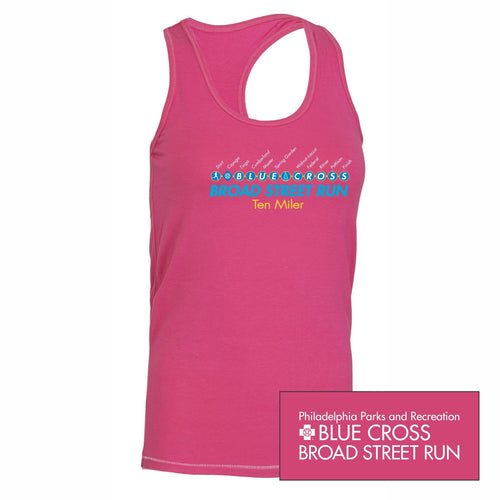 'Subway Stop' Women's Racerback Tri-Blend Bamboo Singlet - Berry - by All Sport