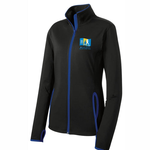 'Left Chest Embroidery' Women's Soft-brushed Stretch Full Zip Jacket - Black / True Royal - by Sport-Tek
