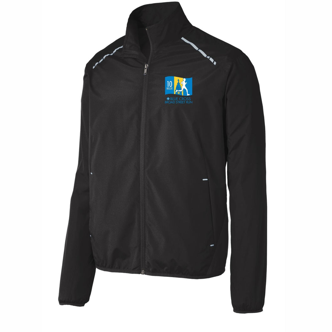 'Left Chest Embroidery' Men's Lightweight Reflective Full Zip Jacket - Black - by Port Authority