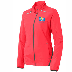 'Left Chest Embroidery' Women's Lightweight Reflective Full Zip Jacket - Hot Coral - by Port Authority