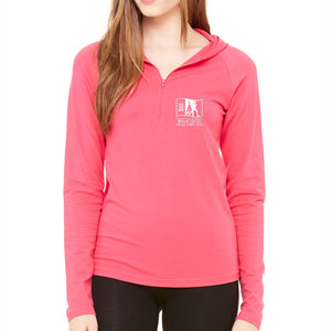 'Left Chest Embroidery' Women's Hooded Lifestyle Pullover 1/2 Zip - Fuschia - by bella