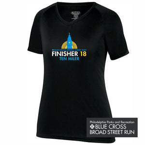 '2018 Finisher' Women's SS Tech V-Neck Tee - Black - by Augusta