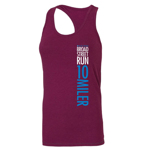 'Left Chest Print' Women's Racerback Tri-Blend Bamboo Singlet - Currant - by All Sport
