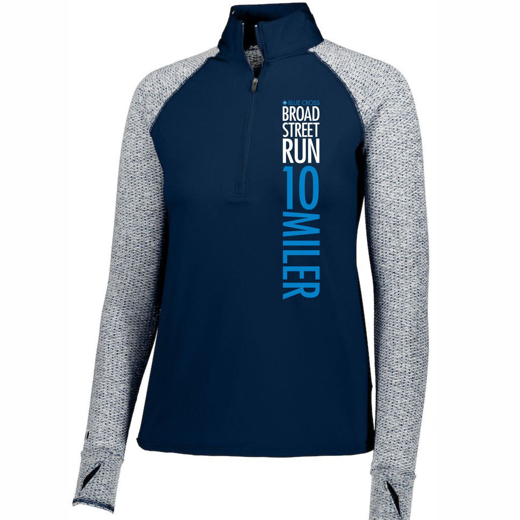 'Left Chest Print' Women's 'Axis' Tech Pullover 1/2 Zip - Navy / Silver - by Holloway