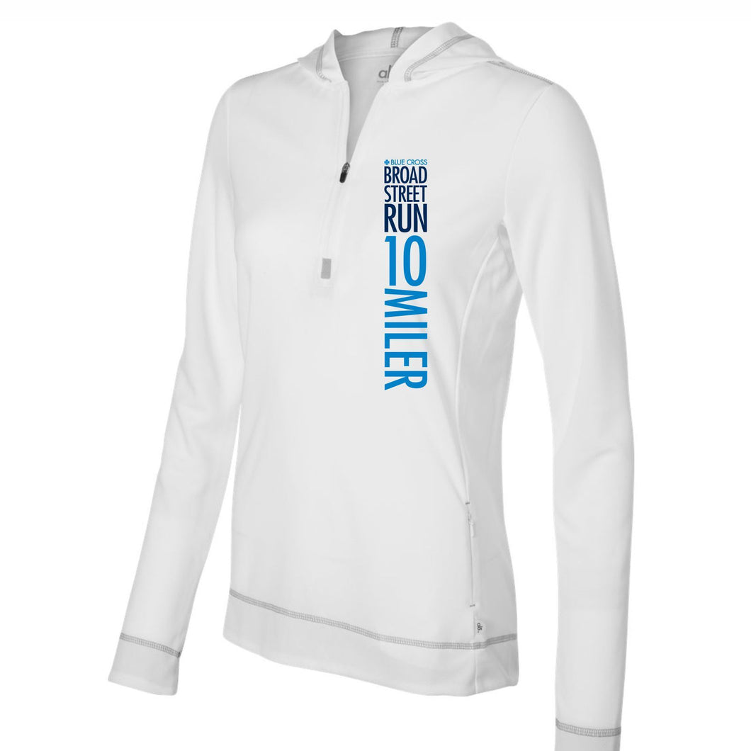 'Left Chest Print' Women's Hooded Tech Pullover 1/2 Zip - White - by All Sport
