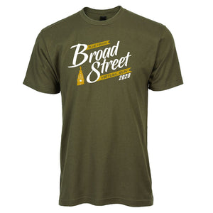 Virtual Run 'Banner' Men's Ringspun SS Tee - Military Green