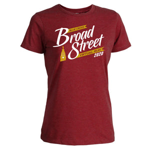 Virtual Run 'Banner' Women's Ringspun Blend SS Tee - Red Heather