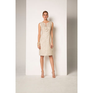 Camelot Cream/Metallic Gold Vintage Style Dress