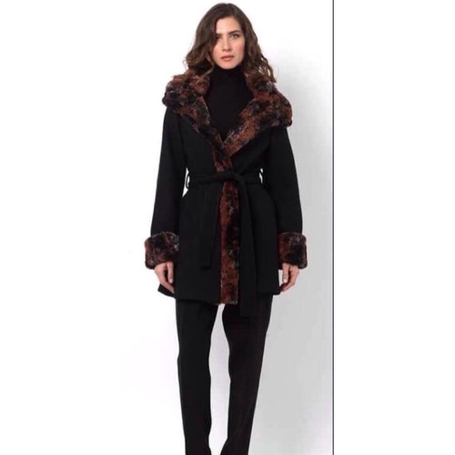 Black Coat with Faux Fur Lining