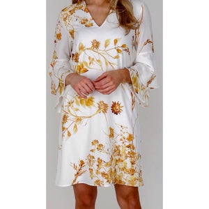 White/Gold Floral Dress