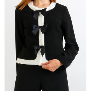 Black Beaded Trim Contrast Jacket