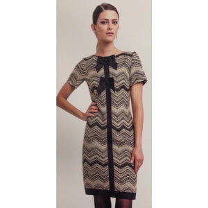 Cream/Black Print Shift Dress