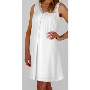 White Embroidered Trim Shift Dress