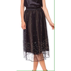 Black Pearled Midi Skirt