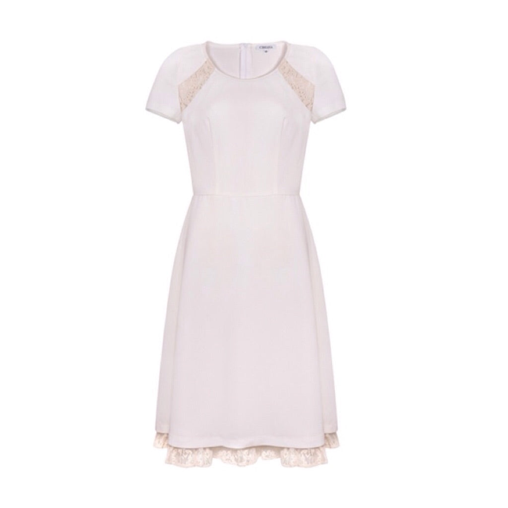 Cream Cocktail Dress With Lace Inset