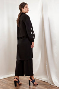 Black Coat with Floral Embroidery