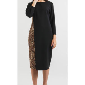 Black Wrap Effect Dress With Leopard Print Panel
