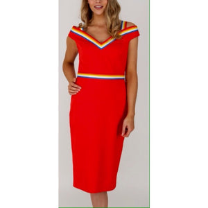 Red Stripe Trim Pencil Dress