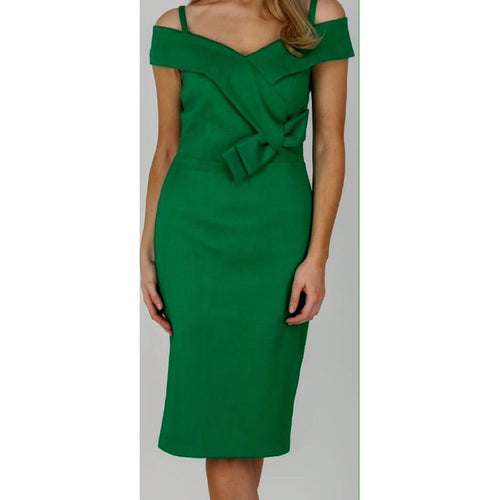 Camelot Green Bow Trim Pencil Dress