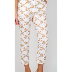 Gold Print Cropped Trousers