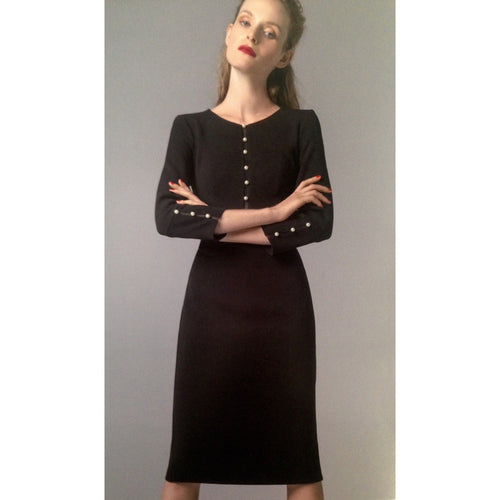 Camelot Black Pencil Dress with Pearls